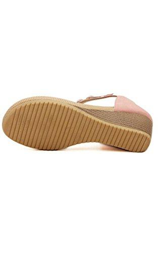 Acevog Damene Sommer Plattform Flip Myke Flops Thong Kile Strand Sandaler Knotbow Sko 4 Størrelser Pastelpink