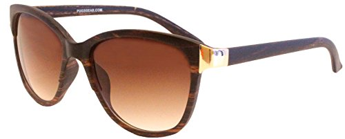 Women's Cat-Eye Style Fashion Sunglasses by Pugs - 100% UV Blocking Sunglasses (Brown Wood Grain, - Pug Sunglasses With