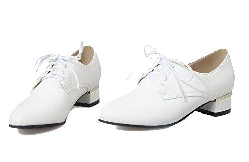 Flats Trafilatura Puro VogueZone009 Ballet Basso Tacco Bianco Allacciare Donna qTnwC0B