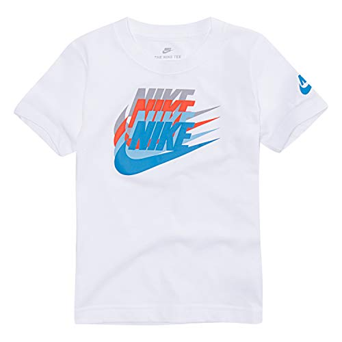NIKE Children's Apparel Boys' Toddler Graphic T-Shirt, White/Blue, 4T