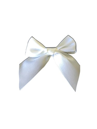 White Satin Pre-Tied Decorative Bows - 3