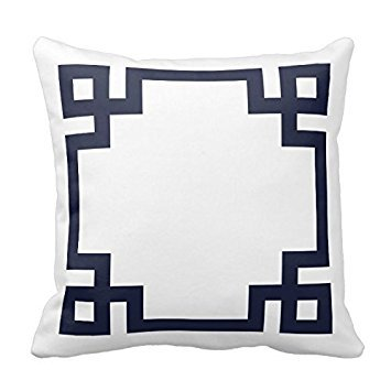 Moslion White and Navy Blue Greek Key Border Pillow Home Sof