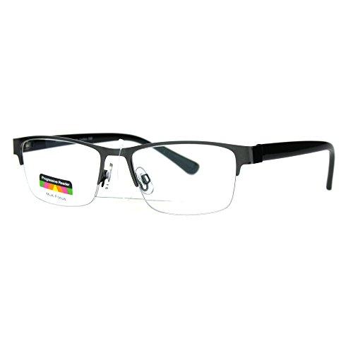 Multi Focus Progressive Reading Glasses 3 Powers in 1 Rectangle Gunmetal +3