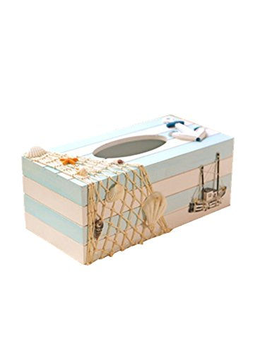 Toshine Creative Tissue Box Cover Holder Mediterranean Napkins Dispenser Wooden Crafts Home Decor for Small Tissue Box (Sailboat) by Toshine