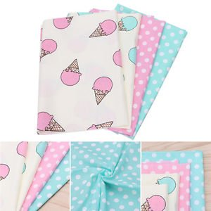 4PC 50x40cm Ice cream Cotton Fabric Material DIY Craft Sewing Patchwork Quilting