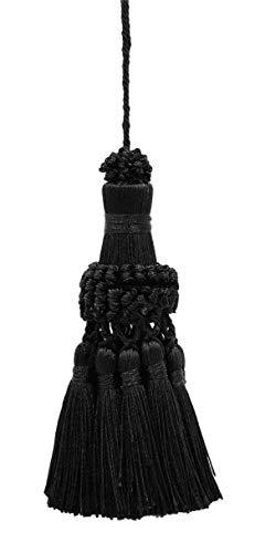 DÉCOPRO Elegant Black Key Tassel / 4 Inch Tassel, 3.5 Inch Loop Style# NKT - Onyx K9 - Elegant Black Tassel