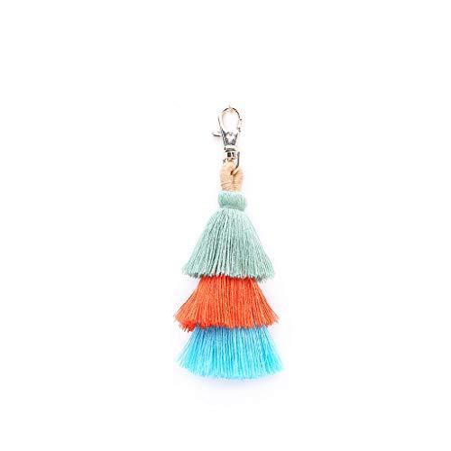 ( Orcbee  _Fashion Women Layered Colorful Boho Pom Pom Tassel Bag Charm Key Chain Gift (Army Green))