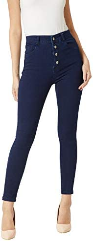 Miss Chase Women's Navy Blue Skinny Fit High Rise Regular Length Clean Look Stretchable Denim Jeans
