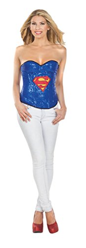 Secret Wishes DC Comics Justice League Superhero Style Adult Corset Top with Logo Sequined Supergirl, Blue, -