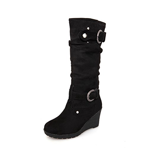 AdeeSu Ladies Buckle Color Matching Thick Bottom Heel Metal Ornament Frosted Boots Black MCY7j6uB