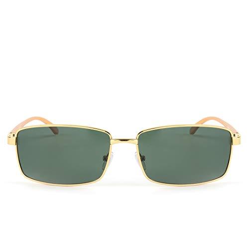 400 Hombres Gafas polarizadas Frame para Lens Aviator Sunglasses Gold Gold Sakuldes Sol Frame Color Green Protection Green UV Lens de nRXqwngdvS