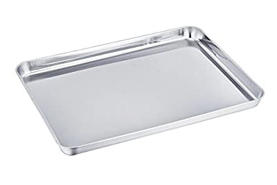 TeamFar Pure Stainless Steel Baking Sheet Cookie Pan Tray, Healthy & Non Toxic, Rust Resistant & Less Stick, Deep Edge & Heavy Duty, Easy Clean & Dishwasher Safe
