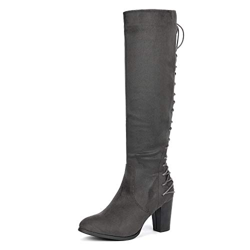 DREAM PAIRS Women's MIDLACE Grey Over The Knee High Boots Size 8 B(M) US