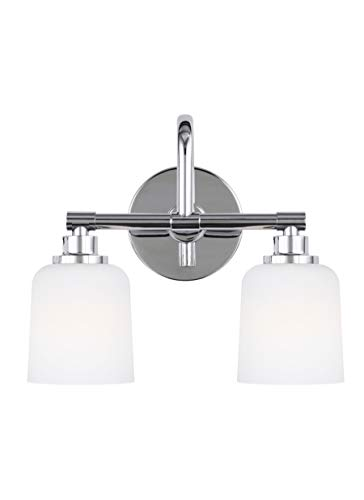 Feiss VS23902CH Reiser Glass Wall Vanity Bath Lighting, Chrome, 2-Light (14