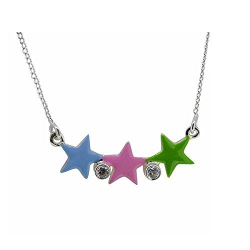 Cadena de Silver SL Niños colgante cristales de estrellas de colores 925plata en caja de regalo
