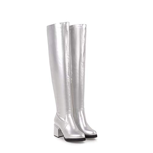gold T-JULY Fashion Women Over The Knee Boots Patent Leather High Heels Large Ladies Party shoes