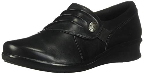 Clarks Women's Hope Roxanne Loafer, Black Leather, 9.5 W US