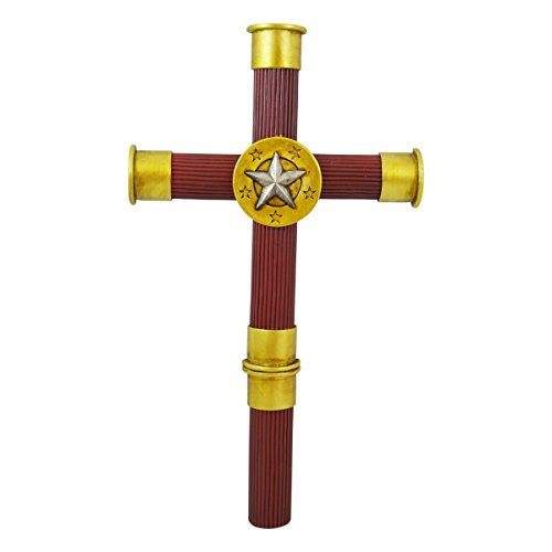 Italian Personalized Cross - Pine Ridge Shotgun Shell Buckshot Wall Hanging Cross by 5 Shotgun Shells Assemble this Unique Handcrafted Wall Cross - Christian Catholic Cross With Silver Star Gun Shell Centerpiece