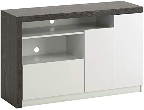 """Sauder Hudson Court 50"""" Engineered Wood TV Stand in Charcoal Ash with Pearl Oak"""