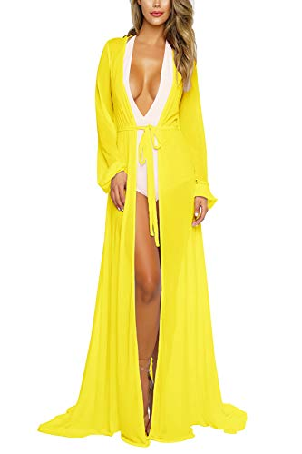 Women's Bright Yellow Sexy Mesh Sheer Long Swim Beach Maxi Cover Up Kimono Dress 2XL (Long Sheer Maxi Dress)