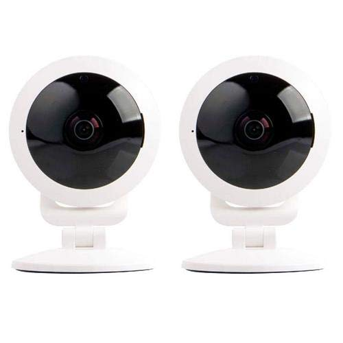 Vivitar 2 Pack IPC-117 1080p Full HD Wi-Fi Smart IP Camera with 360 Degree View Angle Lens, White