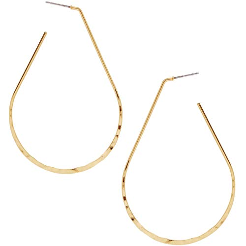(Humble Chic Big Hoop Earrings - Textured Open Round Statement Loops with Hypoallergenic Stainless Steel Post, Oval 18K Yellow, Gold-Electroplated)