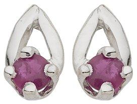 Diamantly - Boucles D'oreilles or Gris Bouton Rubis - or Gris 375/1000 (9 Carats) - Femme - Fille