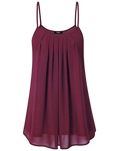 Lotusmile Women's Summer Casual Front Pleat Cool Tank Dress (Medium, Wine)