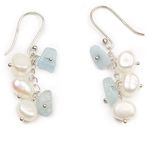 HinsonGayle Freshwater Cultured Pearl & Light Blue Aquamarine Dangle Earrings Sterling Silver