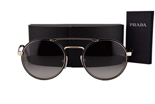 Prada PR51SS Cinema Sunglasses Black Pale Gold w/Gray Gradient Lens 1AB0A7 SPR - Round Prada Cinema Sunglasses