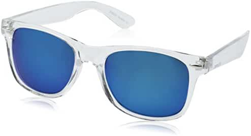 zeroUV ZV-8025 Retro Matte Black Horned Rim Flash Colored Lens Sunglasses