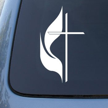 cross-flame-united-methodist-church-car-truck-notebook-vinyl-decal-sticker-2352-vinyl-color-white