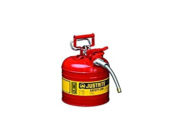 Type II AccuFlow Steel Safety Can for flammables, 2 gal, S/S flame arrester, 5/8 metal hose