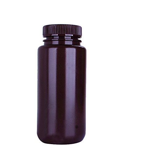 (6 Pack of KOKEE Amber Round Wide Mouth Bottles 250ml , HDPE Chemicals Storage Reagent Bottle)