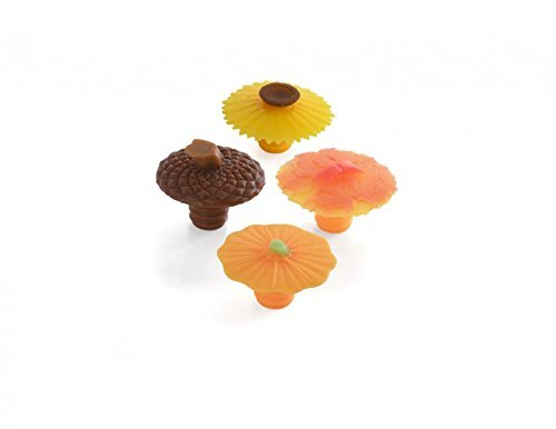 Bottle Stoppers Fall Autumn Wine (Charles Viancin Wine Bottle Stopper - Autumn - Pumpkin, Sunflower, Maple Leaf and Acron)
