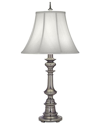 Stiffel TL-N6086-K9079-AN One Light Table Lamp, Antique Nickel Finish with Off White Silk (Stiffel Lamp Shades)