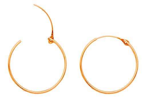- 14K Rose Gold EasyOn Hinged Continuous Endless Hoop Earrings (20mm) (1mm Tube)