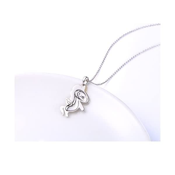 LINLIN FINE JEWELRY 925 Sterling Silver Cute Flying Unicorn Pendant Necklace for Women Girls, 18 inch 5