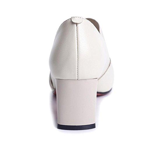 Pointu White Bouche Bal with Talon Bas Rough in Véritable Profonde Cuir LLP Salle en Peu de Chaussures Dans Le Simples Chaussures Chaussures de Travail Femmes Lieu 8q7O6x4