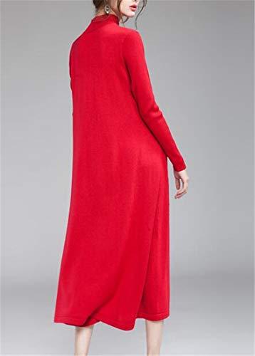 Maxi Delle Finta Donne Elegante Vestito Lunga Collo Rosso Maglione Manica Cromoncent Maglia Tartaruga Scuro TqTrgz4xw
