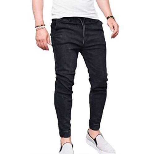Pantalones Vaqueros De Los Hombres Jeans Fit Cintura Skinny Slim Elástica con Cordón Skiny Pantalones Vaqueros De Bule Grey Pantalones Vaqueros De Mezclilla Pantalones Casuales Negro