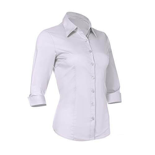 Button Down Shirts For Women By Pier 17 - Tailored, 3/4 Sleeve Shirt With Stretch - Semi Fitted For Slim,...
