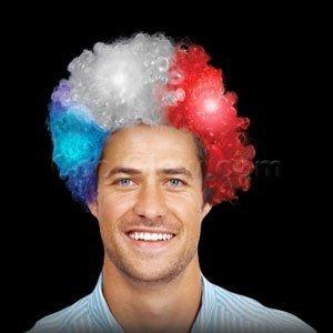 Kids Glow Afro Wig (LED Light Up Afro Wig - Patriotic)