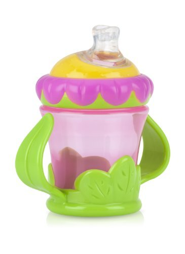 Nuby 3-D Flower 2 Handle No-Spill Super Spout Cup, 7 Ounce (Pack of 4)