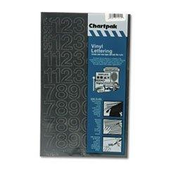 Chartpak Press-On Vinyl Numbers, Self Adhesive, Black, 1 h,
