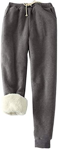 HeSaYep Women's Warm Sherpa Lined Sweatpants Drawstring Athletic Jogger Fleece Pants with Pockets