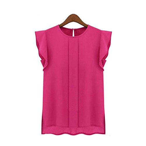 Blouse Pink Peasant (Womens Casual Loose Tops Chiffon Shirt Short Tulip Sleeve Blouse by Topunder)