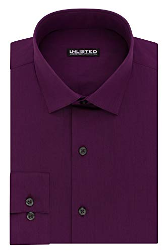 Kenneth Cole Unlisted Men's Dress Shirt Regular Fit Solid ,  Raspberry,  16
