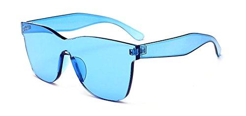 Pedazo Sol Regalo Azul De Transparente Mujeres Rosa De Un Color blue Claro clear Para Sol Verde Gafas Partido Gafas Del TIANLIANG04 De Unisex Azul Caramelos Rojo Hombres XZw78xRxng
