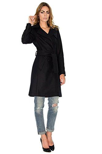 Mi Lo Negro De Largo abrigo Color Cachemira wwqY4r5